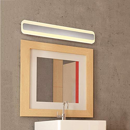 Lámpara De Espejo De Baño Moderna del LED, Luz De Baño Rectangular Blanca con Aplique De Pared Acrílico Shade para Pared De...