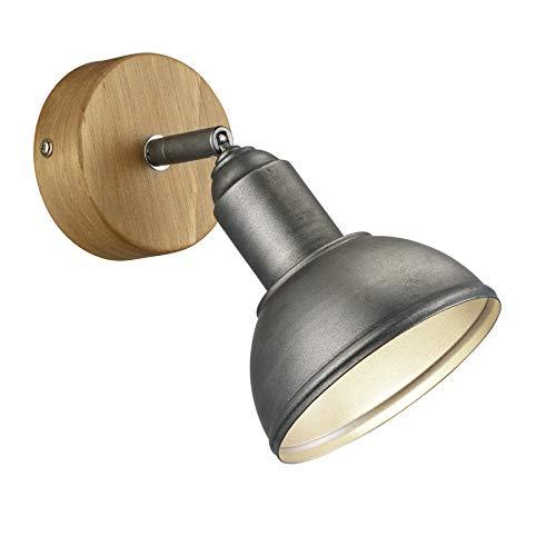 Trio Leuchten Wandleuchte Delhi 803400167, Metall Nickel matt antik, Base Holz, exkl. 1x E14