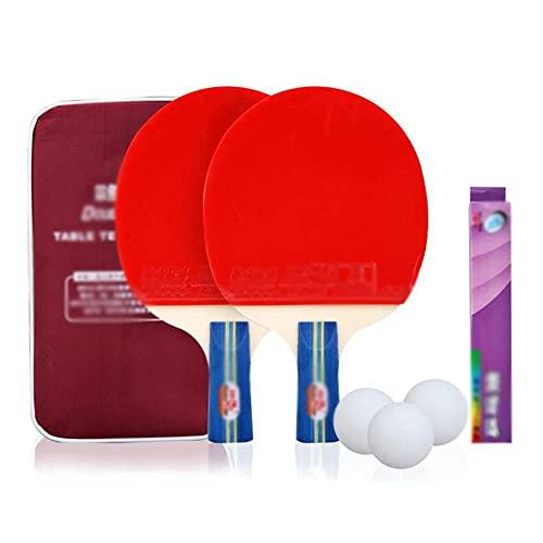 JIANGCJ bajo Precio. 2 Ping Pong Paddle - Juego de Raquetas de Tenis de Mesa Premium, 9 Bolas, Juego de recreación Profesional Raqueta, Práctica Entrenamiento Bat, Familia Ping Pong Racket-B