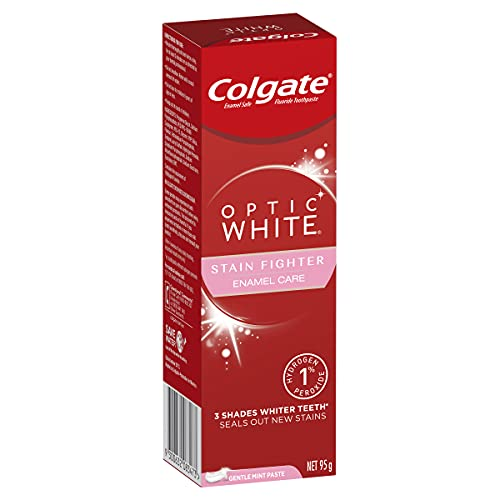 Colgate Optic White Stain Fighter Teeth Whitening Toothpaste 95g, Enamel Care, with 1% Hydrogen Peroxide