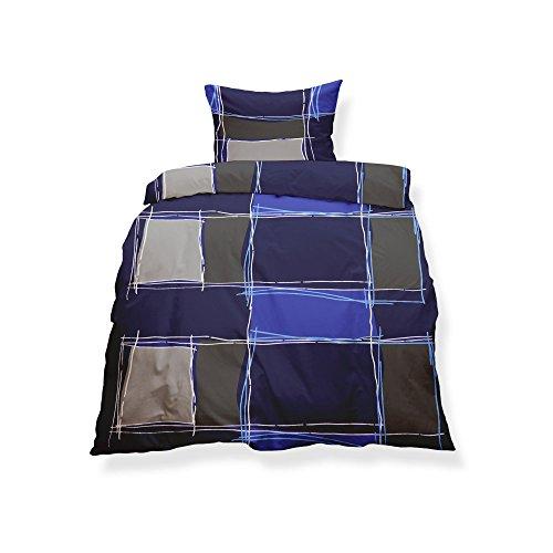 CelinaTex Aqua-Textil 0500129 Living 2-TLG. Bettwäsche 4-Jahreszeiten 155 x 220 cm Mikrofaser Bettbezug 2 teilig Sofia lila braun grau Karo-Muster