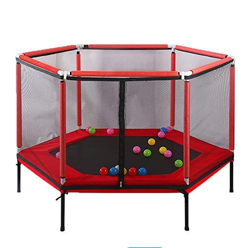 Trampoline d'intérieur pour enfants 157 * 110cm, Trampoline fitness jeux bébé Capacité charge 100 kg, Cadeaux d'anniversaire pour enfants Barrière protection bébé avec filet de protection