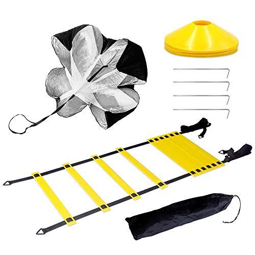 Swetup Kit Entrenamiento Velocidad y Agilidad de fútbol,Líder de Entrenamiento Líder de coordinación Contiene 1 paracaídas de Resistencia, 1 Escalera de Agilidad,4 Vallas Ajustables,12 Conos de Disco