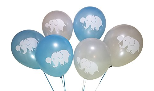Elephant Balloons for Birthday Party or Boys Baby Shower – 25 Pack - Blue, Grey