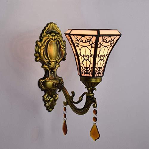 Tiffany Art Lámpara De Pared Barroco Retro Mano Lámpara De Pared Soldada Sala Sala Aisle Pasillo Corredor Dormitorio Lámpara De Noche