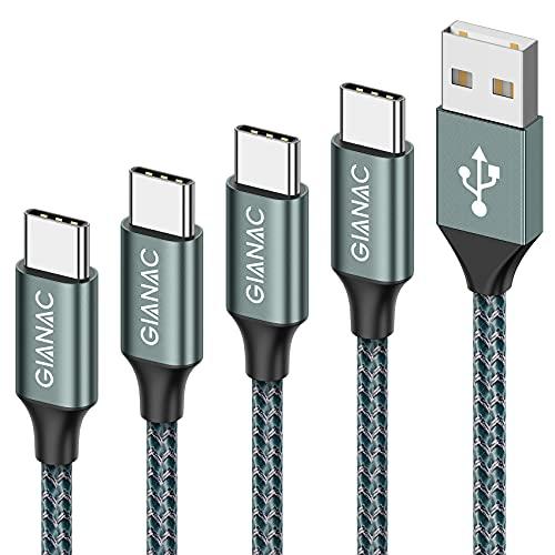 Cable USB Tipo C, USB C 4Pack [0.5M 1M 2M 3M] 5V/3A Cargador Tipo C Carga Rápida y Sincronización Cable USB-C para Galaxy S10/S9/S8 Note9, Xiaomi Mi A2/A1