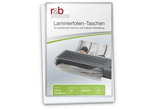 r&b FT-A1-125 Laminierfolien A1, 610 x 860 mm, 2 x 125 mic, 100 Stück, glänzend