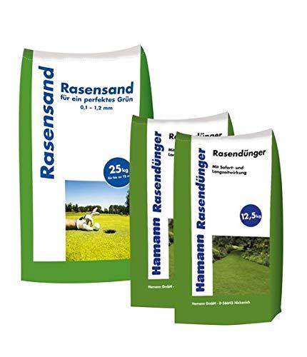 Hamann Rasensand 25 kg + Hamann Rasendünger 25 kg - mit unserem Rasensand wird verdichteter Boden wieder aufgelockert.