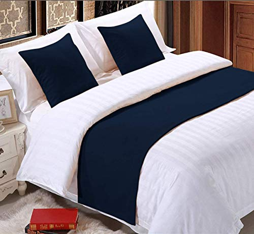 """100% Egyptian Cotton Bed Runner 1-Piece (1 Bed Runner) 600TC Soft Fade-Resistant Easy Care Decorative Bed Scarf King Size (102"""" X 18""""), Navy Blue"""