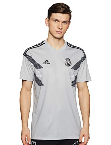 adidas 2018-2019 Real Madrid Pre-Match Training Football Soccer T-Shirt Jersey (Grey)