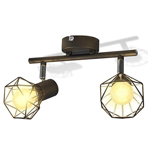 Weilandeal plafondspot industriële stijl draadframe + 2 LED-lampen zwarte plafondspot met kleur: zwart plafondspot