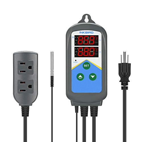 Inkbird Temperature Controller ITC-306T WiFi Heat Lamp Thermostat Reptile Temperature Controlled Outlet for Heat Mat Fermentation,1200W,10A.