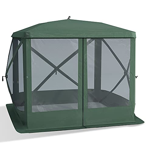 Outsunny Pop Up Camping Canopy Gazebo Screen Shelter Tent with One-Person Easy Set-Up, Ventilating Mesh, Portable Carry Bag for Outdoor Camping Party Event, 7x7FT, Green