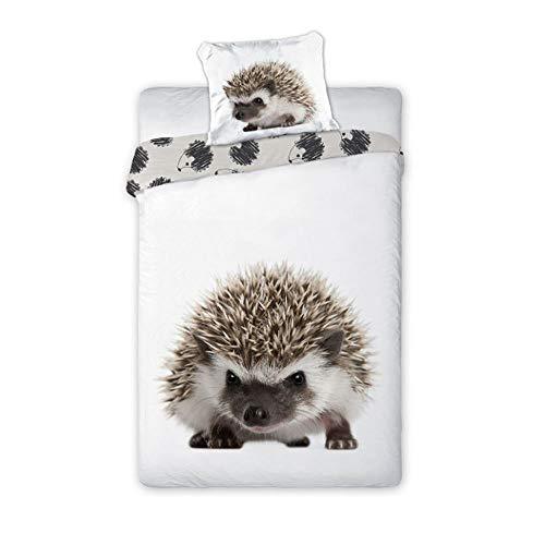 Faro - Juego de Funda nórdica, edredón con diseño de Erizo, para Cama de 140 x 200 cm, Individual, 100% de algodón, Ropa de Cama Naturaleza Animales Wild Hedgehog - 140cm x 200cm