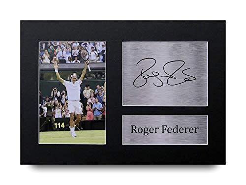 HWC Trading Roger Federer A4 Sin Marco Regalo De Visualización De Fotos De Impresión De Imagen Impresa Autógrafo Firmado por Los Aficionados Al Tenis