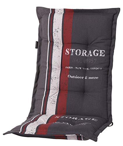 Madison 8 cm Luxus Hochlehner Auflage G 148 Storage Red, grau mit rotem Streifen und Schrift, 120 x 50 x 8 cm