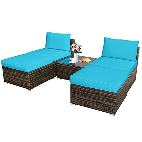 Tangkula 5 Piece Wicker Lounge Chair Set, with Tempered Glass Coffee Table, Outdoor Conversation Sets w/Washable Zippered Cushions, Includes 2 Armless Sofas, 2 Ottomans and 1 Side Table (Turquoise)