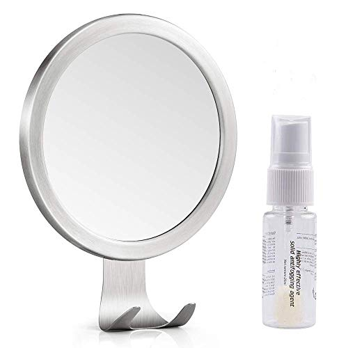 LUXEAR Shower Mirror, Anti Fog Round Shaving Mirror with Fog Free Spray Strong Adhesive Razor Holder Easy Mirrors Viewing Ideal for Bathroom Home Wall Traveling, Shatterproof