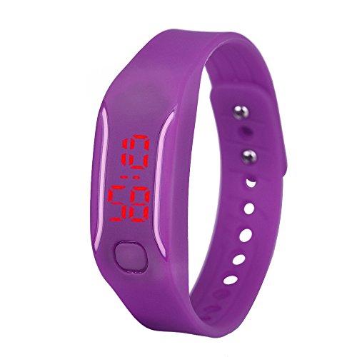 Evansamp Smart-Armbanduhr für Damen, analog, digital, LED, neutrale Sport-/Fitness-Uhr, violett (Violett) - Evansamp20113