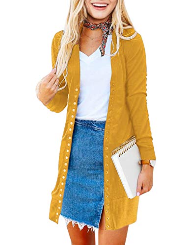 MEROKEETY Women's Long Sleeve Snap Button Down Solid Color Knit Ribbed Neckline Cardigans Mustard