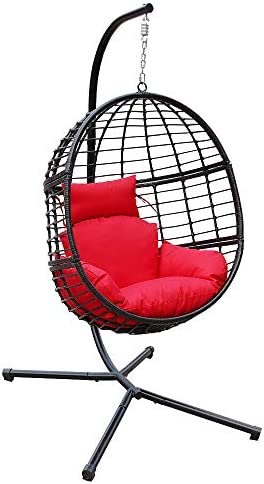 Abble Indoor Outdoor Patio Wicker Basket Swing Chair With Stand Hanging Egg Chair Capable For Patio Backyard Balcony Black Frame With Red Cushion Garden Outdoor