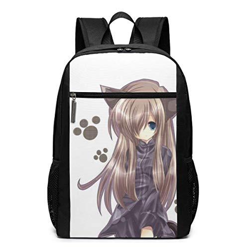 JUKIL Cat-Girl-nekomimi-Art-Anime-Girl Mochilas Informales Moda Mochilas Multiusos Populares Mochilas para portátiles de Negocios de Alta Capacidad Mochilas para Senderismo