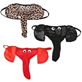 QINGD's Men Lingerie G-String T-Back Thongs Underwear Elephant Pants Briefs Bottom (Leopard,One Size)