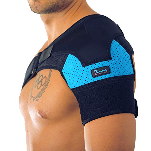 Shoulder Brace for Men and Women by Zeegler Orthosis - Therapeutic Compression for Shoulder Instability, Pain and for injuries as Torn Rotator Cuff, Dislocated AC Joint, Bursitis, hEDS (Black - Blue)