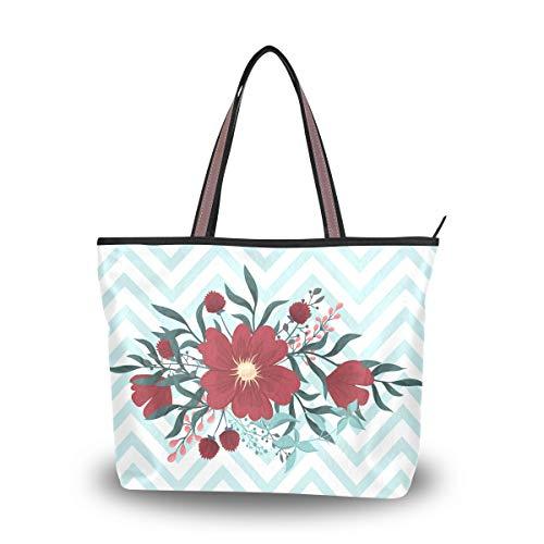 LORONA Frauengrußkarte mit Blumen Aquarell Vektor Rahmen Leinwand Schulter Handtasche große Kapazität Einkaufstasche