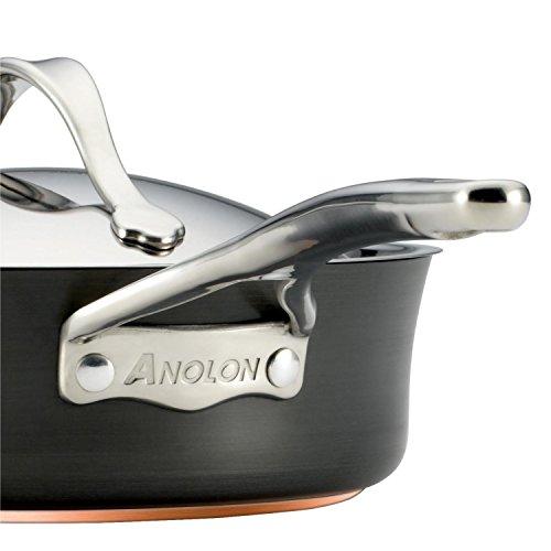 Anolon Nouvelle Copper Hard Anodized Nonstick Cookware Pots and Pans Set, 11 Piece, Dark Gray