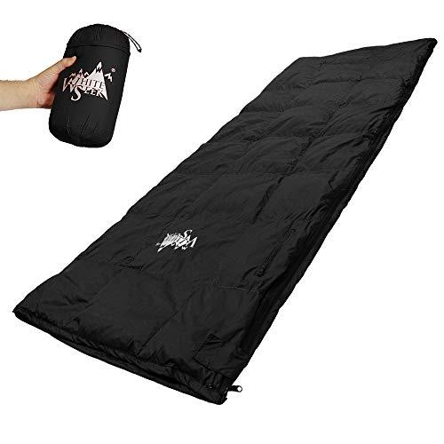 whiteseek 寝袋 シュラフ 羽毛 ダウン 封筒型 軽量 極小 コンパクト 手のひらサイズ (ブラック)