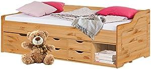 Loft24 A/S Funktionsbett 90x200 cm Bett mit Bettkasten Schubladen Kinderbett Bettgestell Bettrahmen Kiefer Massivholz (gebeizt geölt)