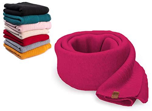 HEYO Damen Schal Winter Strickschal | H19603 | Weich Warm Gestrickt mit Leder Patch | Made IN EU (Pink)