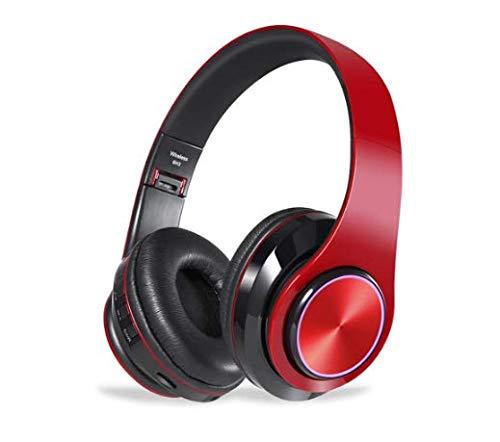 CIC Fones de ouvido Dobrável Bluetooth com Led do Brilho de 7 Cores Over Ear em Estéreo Sem Fio Cartão TF Portátil com Microfone para IOS Android PC TV, Vermelho