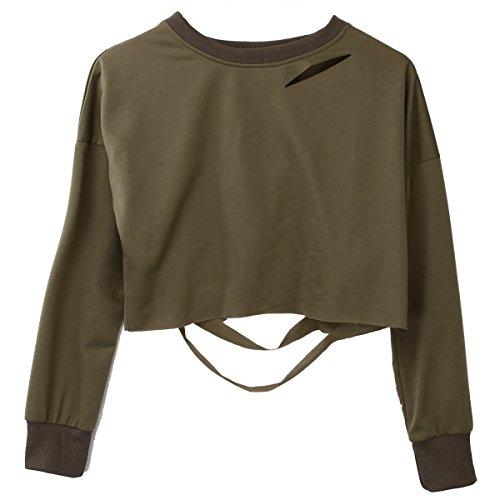 Damen Mädchen Hoodie Long Sleeve Loch Pullover Pullover Pullover Oberteilen, Armee-Grün, EU 34