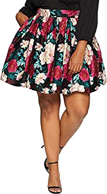 Unique Vintage Womens Plus Size 1950s Style Lupone Skater Skirt