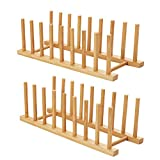 HBlife 2pcs Bamboo Dish Plate Bowl Cup Book Pot Lid Cutting Board Drying Rack Stand Drainer Storage Holder Organizer Kitchen CabinetKeep Dry