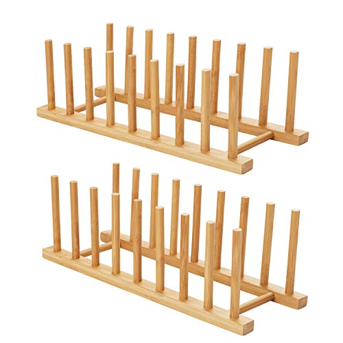 HBlife 2pcs Bamboo Dish Plate Bowl Cup Book Pot Lid Cutting Board Drying Rack Stand Drainer Storage Holder Organizer Kitchen Cabinet?Keep Dry?