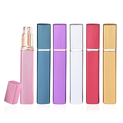 Pinkiou Perfume Atomizador Botellas Fragancia Spray Botellas vacías Botella de vidrio de viaje recargable Carcasa de aluminio (Paquete de 6)