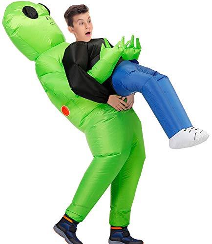 KMiKE Inflatable Costume, Dinosaur T-REX Cock Unicorn Alien Inflatable Costume Suit Halloween Costumes for Adult Kid (Alien Child)