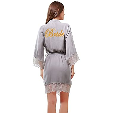 Women's Cotton Kimono Short Robes with Gold Glitter for Bridesmaid and Bride with Lace Trim Medium=US 8-10 Gray(bride)