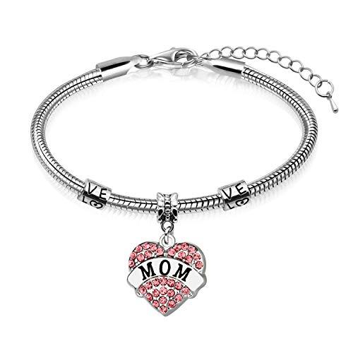 Regalos para el día de la madre - mamá madre encanto corazón de cristal colgante brazalete (rosa)