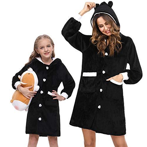 Sykooria Bata Suave para Mujer Pijama de Calentita con Capucha y Botones Ropa de Dormir de Forro Polar con Bolsillos Regalos Navidad para Mujeres