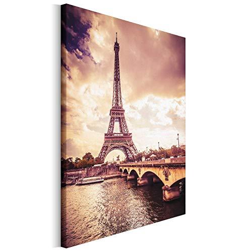 Revolio - Cuadro en Lienzo - impresión artística - Decoracion de Pared - Tamaño: 40x50 cm - Torre Eiffel Puente sephia