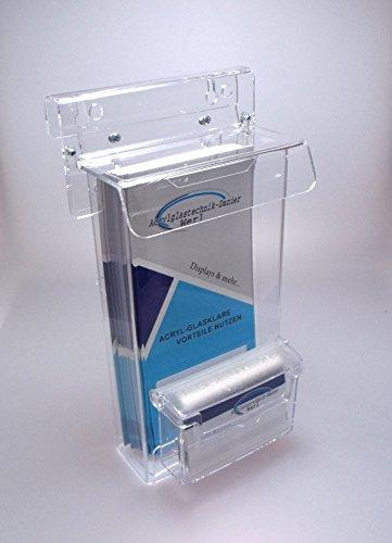 Flyerbox Prospekt Box mit Visitenkarten Box wetterfest DIN LANG,1/3A4