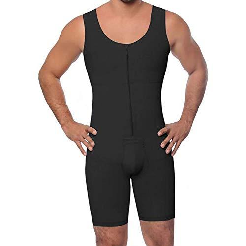 SHANGXIAN Hombres Compresión Bodysuit Escultor de Cuerpo Cómodo Transpirable Control del Vientre Gordo Y Muslos Shapewear Faja Ropa Interior,Negro,L