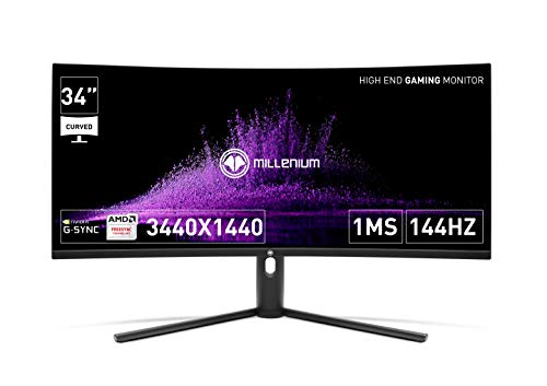 """Millenium MD34PRO - Monitor Gaming de 34"""" Curvo de 144hz con 1ms (3440x1440p, VA, QLED, HDR400, 21:9, 2x HDMI, 2x Display Port)"""