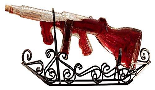Copas de cóctel, Dispensador de botellas de licor 750ml Decantador de whisky creativo, botella de forma de pistola de sometidas única con asiento de acero tallado Licor de vidrio sin plomo Scotch whis