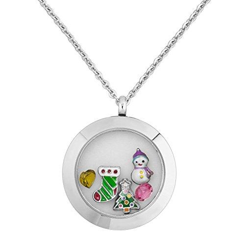 Uniqueen Jewellery, collana con medaglione apribile che contiene piccoli charm natalizi, fiocco di neve, pupazzo di neve, un gioiello per ricordare e Base, cod. UQ_KSEB_A89_PUG58
