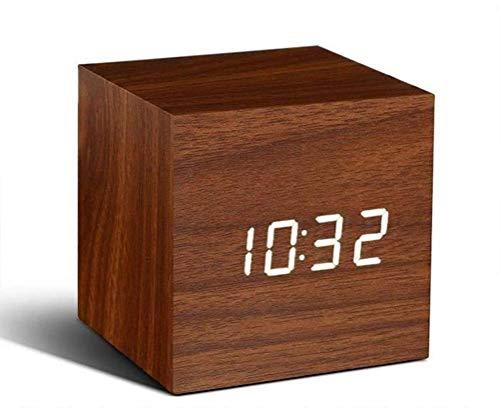 SANTITY Wecker mit Holzmaserung, sprachgesteuerter elektronischer LED-Wecker mit Datums- und Temperaturanzeige